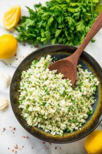 Simple Lemon Parsley Cauliflower Rice